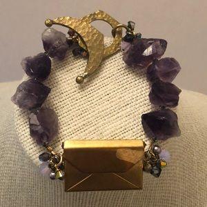 Vintage Amethyst rock stone bracelet w/ gold box